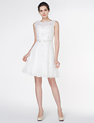 LAN TING BRIDE A-line Wedding Dress Little White Dress Knee-length Scoop Lace with Appliques Lace