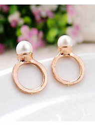 Stud Earrings Pearl Imitation Pearl Alloy Golden Jewelry Party Daily Casual 2pcs