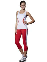 LEFAN Per donna Canotta da corsa Pantaloni da corsa Senza maniche Traspirabilità alta (> 15001 g) Compressione Traspirante3/4