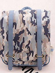 Women Canvas Bucket Backpack - Pink / Blue / Green