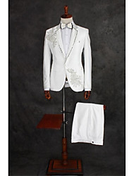 Costumes Coupe Standard Cranté Droit 1 bouton Coton / Polyester Motifs 2 Pièces Ivoire Poche Plaquée Double (Deux) Blanc Double (Deux)