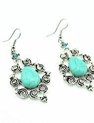 Vintage Look Antique Silver Plated Oval Turquoise Stone Crystal Cz Drop Dangle Earring(1Pair)