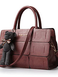 Women's Fashion Vintage Plaid PU Leather Messenger Shoulder Bag/Tote