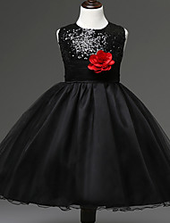 Flower Girl Dress A-line / Ball Gown Knee-length - Cotton / Tulle / Sequined / Polyester Sleeveless Jewel with
