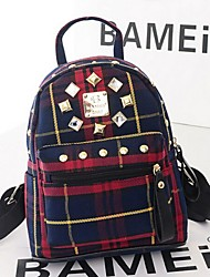Women Canvas Bucket Backpack - Green / Red