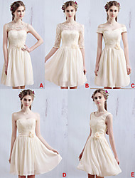 Short/Mini Chiffon / Lace Bridesmaid Dress - Champagne A-line Sweetheart