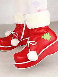 Red PU Leather 6CM Platform Sweet Lolita Shoes Christmas Bboots