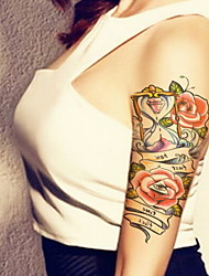 Temporary Tattoos Arm Chest Flower Series 3D Waterproof Tattoos Stickers Non Toxic Glitter Large Fake Tattoo Body Jewelry Halloween Gift 22*15cm