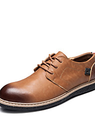 Sapatos Masculinos Oxfords Marrom / Cinza Couro Ar-Livre / Escritório & Trabalho