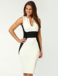 Women's Vintage / Bodycon Color Block Sheath Dress , Round Neck Above Knee Cotton Blends