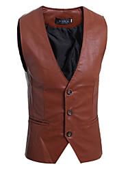 Men's Sleeveless Regular Blazer,PU Solid 916193