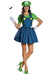 Polyester Women's Halloween Super Mario Cosplay Outfit Fancy Plumber Cosplay(Hat+Dress+Gloves)for Carnival