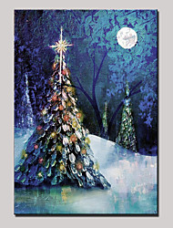 Hand-Painted Abstract Landscape Modern Christmas Tree Oil Painting On Canvas With Frame Ready To Hang One Panel