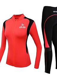 KEIYUEM® Maillot et Cuissard Long de Cyclisme Femme / Unisexe Manches longues VéloEtanche / Respirable / Séchage rapide / Pare-vent /