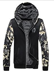 Qiu dong season more add wool fleece male tide cardigan with cap space cotton men's coat