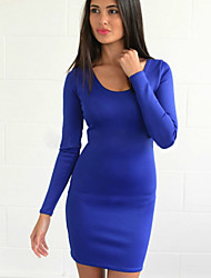 Women's Solid Blue / Black / Yellow / Purple Dress , Bodycon / Casual Round Neck Long Sleeve