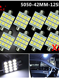 8X  White 41MM 5050 12SMD Festoon Dome Map Interior LED Light bulbs DE3423 6418 12V