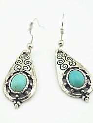 Vintage Look Antique Silver Plated Oval Turquoise Stone Drop Dangle Earring(1Pair)