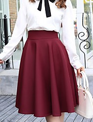 Women's Vintage Casual Solid Color Knee-length A-Line Skirts