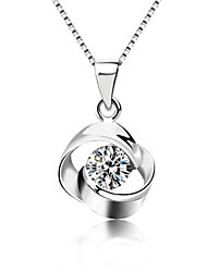 Necklace Pendant Necklaces Jewelry Party / Daily / Casual Fashion Silver / Sterling Silver / Crystal Silver 1pc Gift