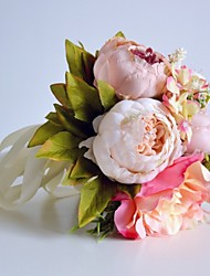 Romantic Silk Champagne Peony Rose Bouquet for Wedding Flowers