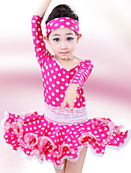 Latin Dance Children's Fashion Lovely Dots Performance Cotton Dresses Dance Costumes