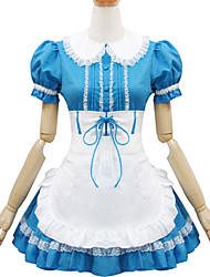 Blue and White Polyester Maid Costume Type6