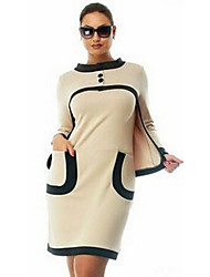 Women's Casual/Daily Bodycon Dress,Solid Round Neck Above Knee Long Sleeve White Rayon Fall