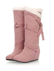 Черный / Коричневый / Розовый - Женская обувь - Для прогулок / На каждый день - Дерматин - На танкетке - Теплая зимняя обувь - Ботинки