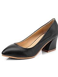 Calçados Femininos - Saltos - Saltos - Salto Grosso - Preto / Branco - Courino - Casual