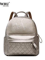 HOWRU® Women 's PU Backpack/Tote Bag/Leisure bag/Travel Bag-Black/Gold/Silver