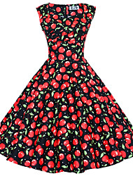 Maggie Tang Women's 50s Vintage Cherry Rockabilly Hepburn Pinup Business Swing Dress 567