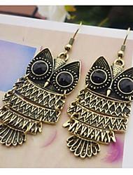 European Style Alloy Owl Drop Silver Gold Earring