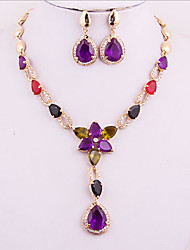 May Polly  Fashion imitation zircon crystal necklace earrings dinner suit