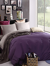 Two-Tone Bedsheet Pillowcases Duvet Cover(Purple+Grey)