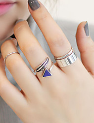 Arrow Simple Circle Adjustable Ring Set Midi Rings(Set of 4)