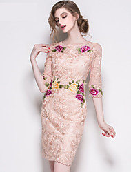 Cocktail Party Dress A-line Jewel Knee-length Polyester with Ruffles