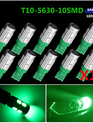 10X T10 192 194 2825 High Power 10 5630 Chip SMD LED Pure green Interior Light Bulbs