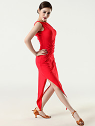 Imported Nylon Viscose with Pleated Latin Dance Dresses for Women's Performance (More Colors)
