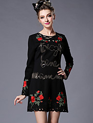 Women Vintage Original Europe High Fashion Bead Embroidery Sexy Hollow Out Plus Size Party/Casual Dress