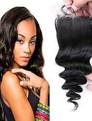 7A Loose Wave Closure Virgin Human Hair Closure, Silk Base Closure Bleached Knots Free Middle 3 Part Closure Top Front