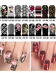 20pcs Water Transfer Nail Art Stickers Full Cover DIY Nail Designs Manicure Accessories(C2-001 to C2-020)