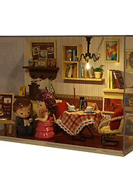Romantic Gift Birthday Gift Manual  Music Model DIY Wood Dollhouse Including All Furniture Lights Lamp LED