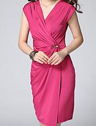 Damen Kleid - Übergrößen Sexy Solide Übers Knie Polyester V-Ausschnitt