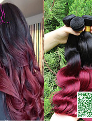 7A Malaysian Loose Wave Virgin Hair 3PCS Burgundy Ombre Hair Weave Two Toned Blonde Ombre Hair Extensions