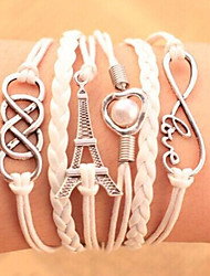 Bracelets Leather Charm Bracelet Multilayer Wrap Bracelet Towel & Love Infinity Jewelry Candy Color for Men/Women Christmas Gifts