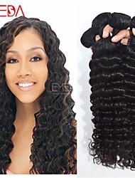 Negro 4pcs / lot onda profunda extensiones de cabello humano virginal peruana del pelo natural, pelo rizo 8 '' - 30 '' pelo teje