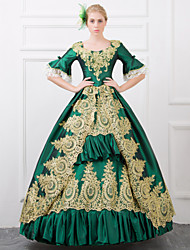 One-Piece Gothic Lolita Steampunk®/Victorian Cosplay Lolita Dress Red/Green Vintage Half-Sleeve Long Length Dress For Women Lace-up Princess Royal