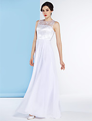 Lanting A-line Wedding Dress - White Floor-length Jewel Chiffon / Lace