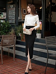 Women's Tall waist belt long skirts,sexy midi